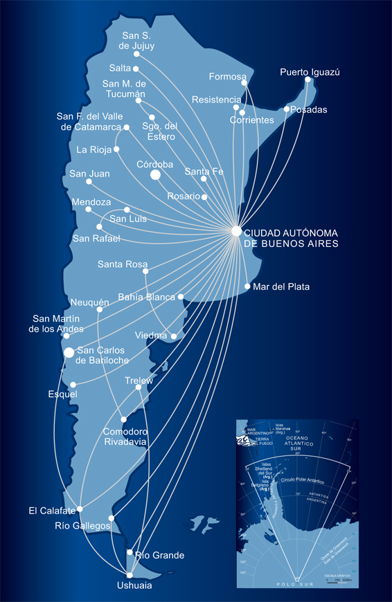 Internal flights by Aerolineas Argentinas