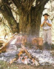A gaucho cooking asado in the open