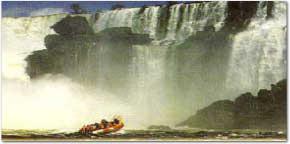 River boat under the falls